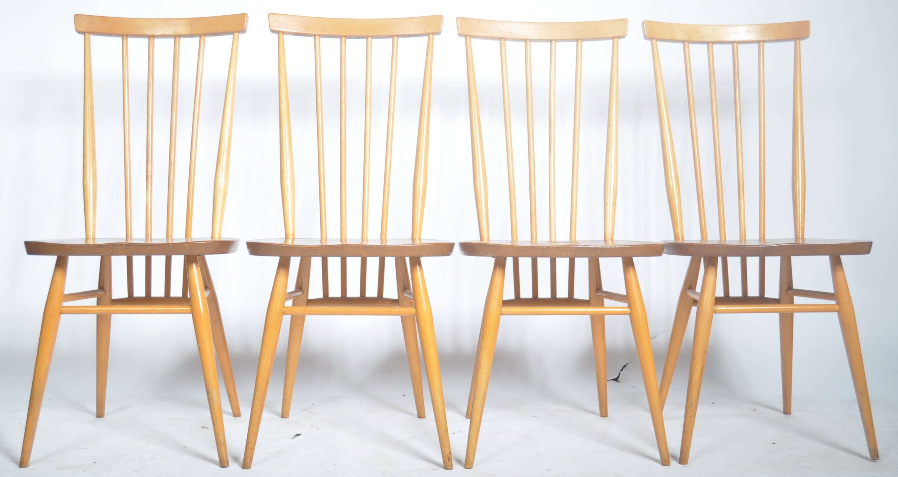 Lot 30 - LUCIAN ERCOLANI FOR ERCOL SET OF FOUR DINNING CHAIRS MODEL 391