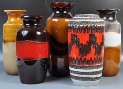 COLLECTION OF WEST GERMAN FAT LAVA POTTER VASES