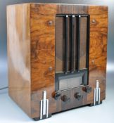 GUGLIELMO MARCONI EARLY 20TH CENTURY ART DECO WALNUT VALVE RADIO