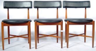 VICTOR B. WILKINS FOR G PLAN SET OF THREE TEAK FRAMED CIRCULAR DINING CHAIRS