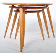 LUCIAN ERCOLANI ERCOL NEST OF PEBBLE TABLES IN BLONDE ELM