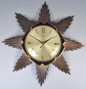 RETRO METAMEC TIMESTAR SUNBURST WALL CLOCK