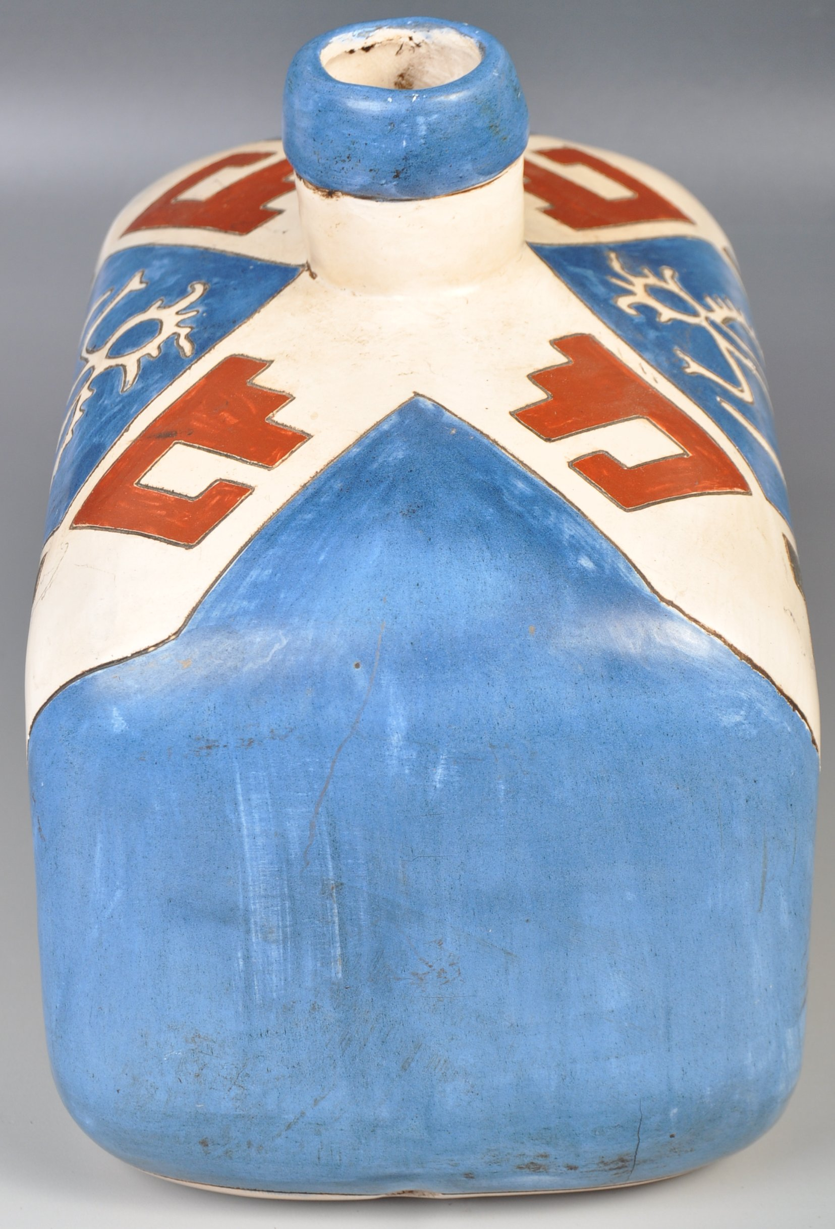 Lot 53 - UNUSUAL MID CENTURY RETRO HAND PAINTED POTTERY VASE / LAMP BASE
