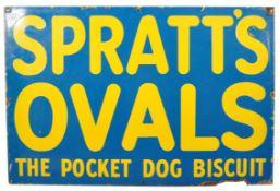 SPRATT'S OVALS DOG BISCUIT ENAMELED ADVERTISING SIGN