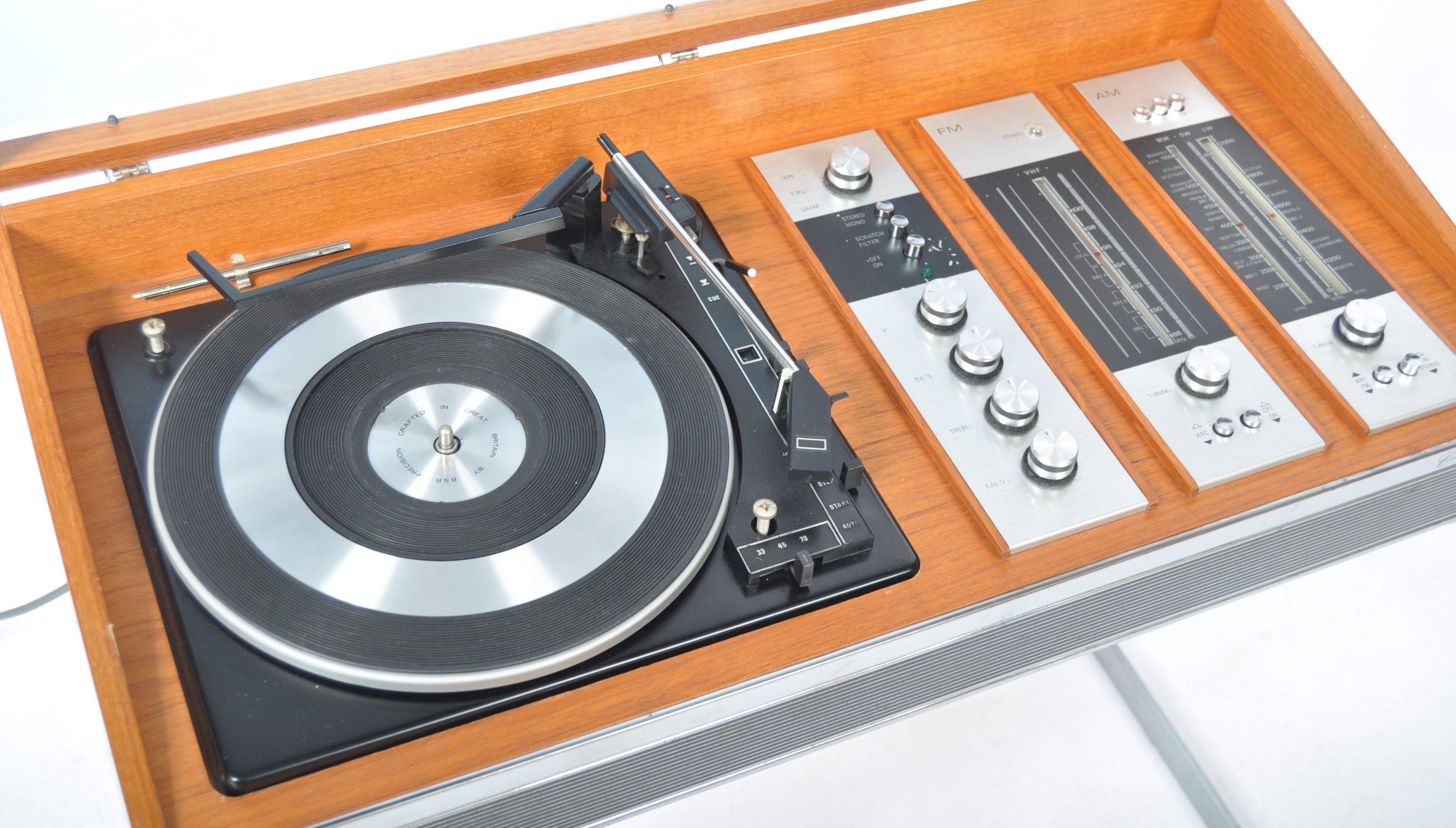 STUNNING DECCA SOUND TEAK CASED AUDIO SYSTEM RAISED ON CHROME SUPPORTS - Image 3 of 8