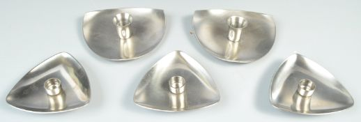 SET OF DANISH STAINLESS STEEL CANDLESTICKS BY A JACOBSEN FOR STELTON