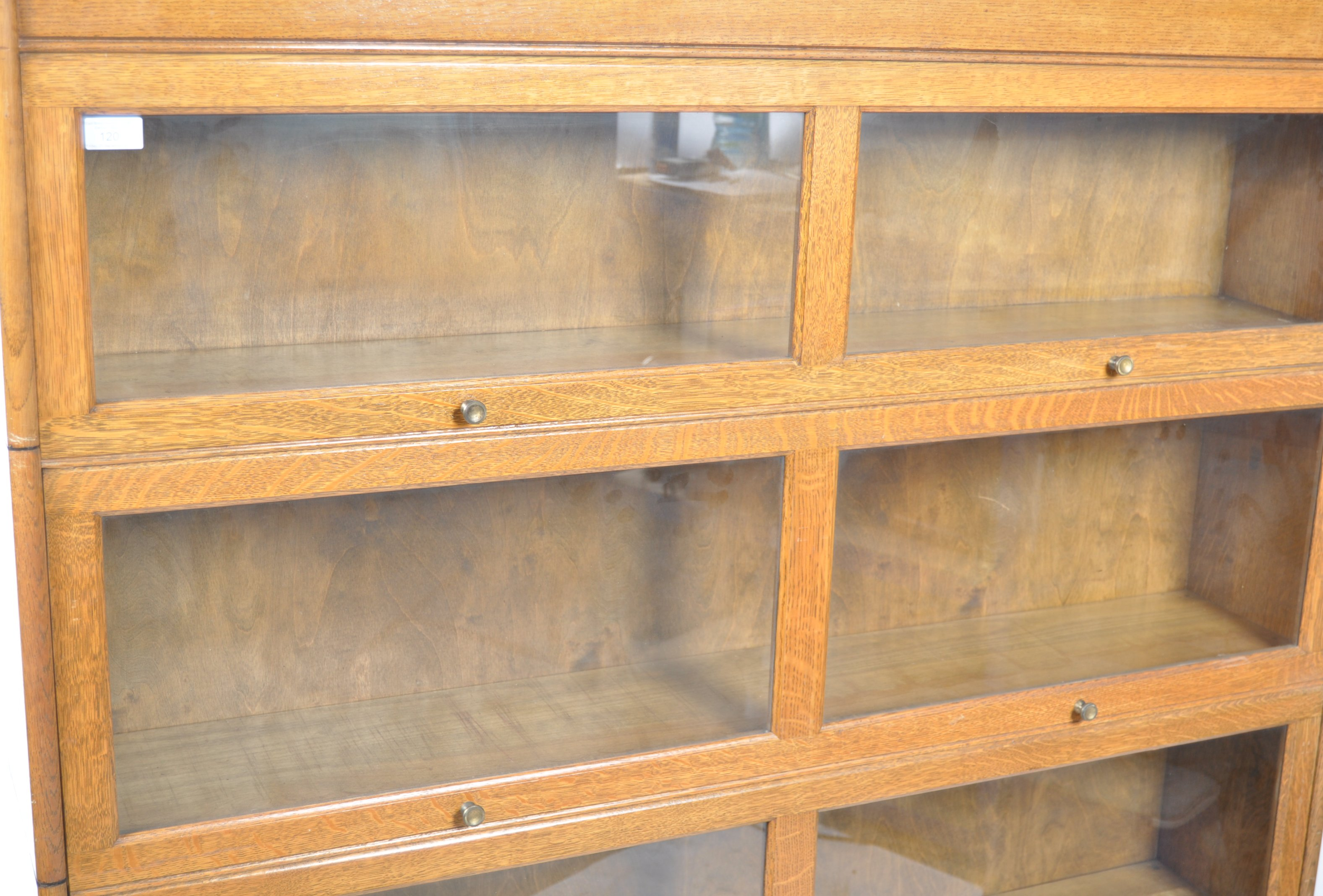EARLY 20TH CENTURY FOUR SECTION LAWYERS STACKING BOOKCASE - Image 3 of 6
