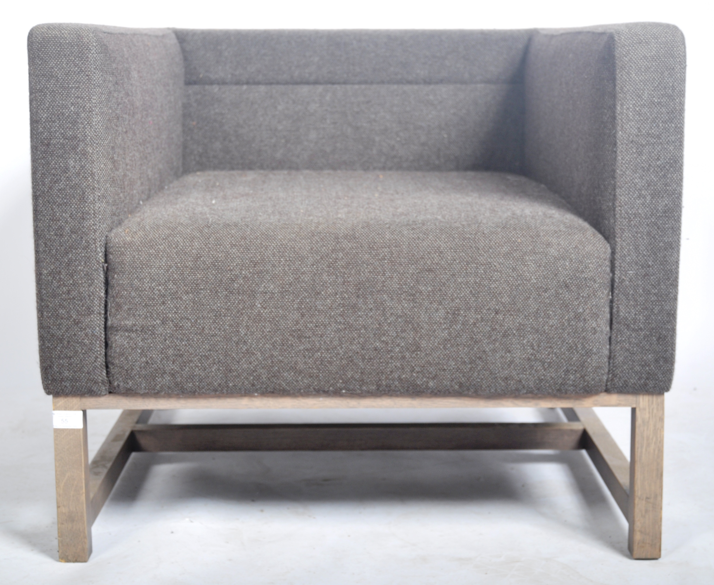Lot 55 - LYNDON DESIGN - ORTEN ARMCHAIR / LOUNGE CHAIR HAVING GREY UPHOLSTERY