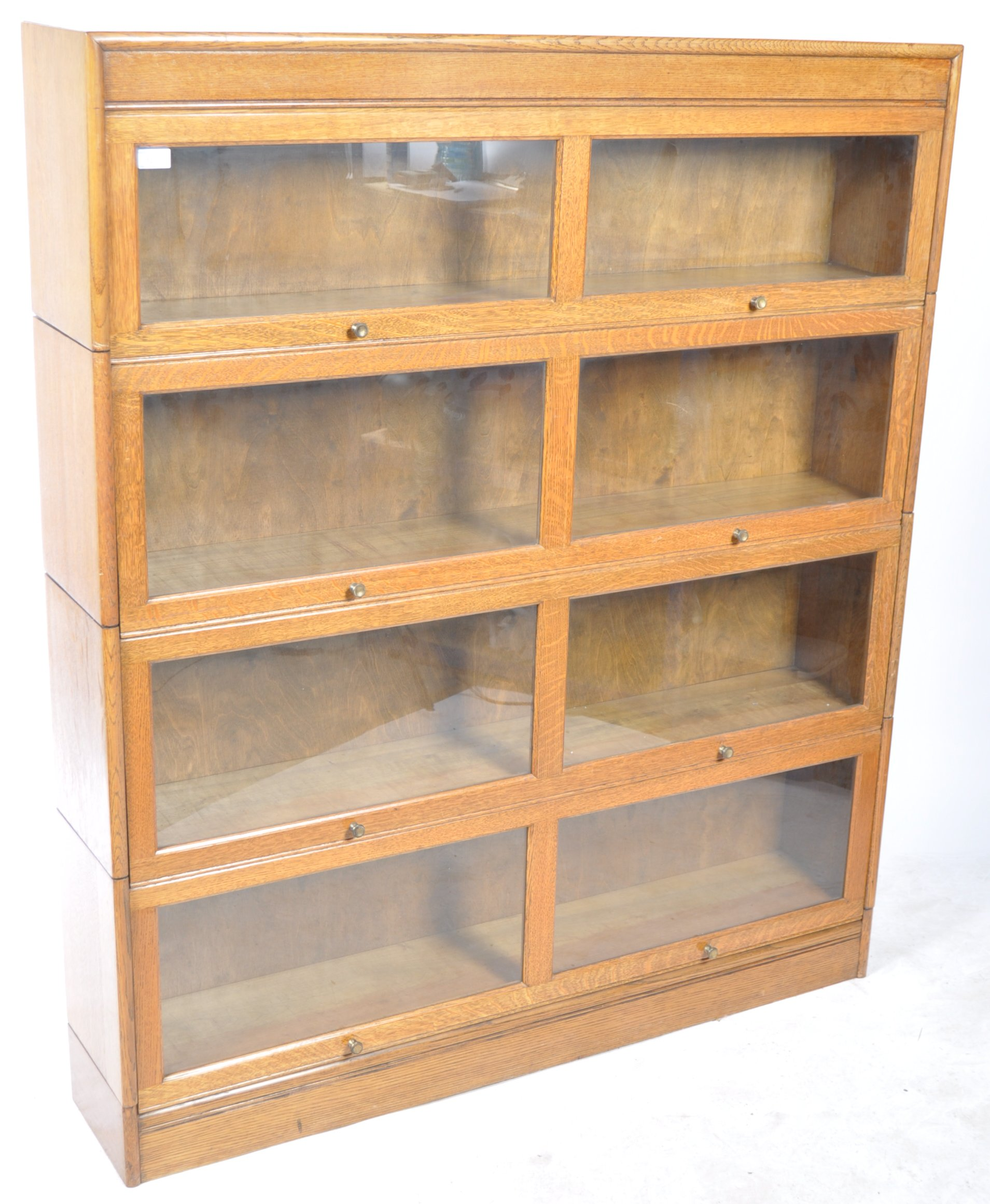 EARLY 20TH CENTURY FOUR SECTION LAWYERS STACKING BOOKCASE - Image 2 of 6