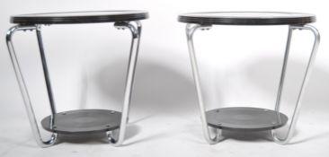 QULITY PAIR OF EK COLE CHROME / ALUMINUM AND BAKELITE COFFEE / SIDE TABLES