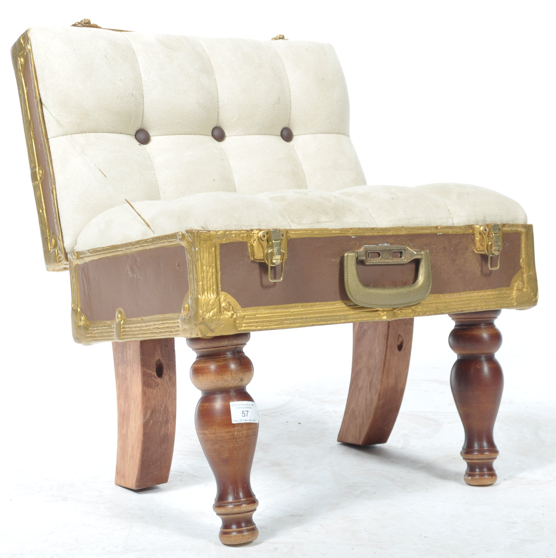 Lot 57 - UNUSUAL BUTTON BACK CHAIR IN THE FORM A TRAVEL SUITCASE