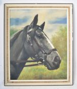 MID CENTURY RETRO OIL ON CANVAS PAINTING STUDY OF A HORSE SIGNED JANKO
