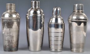 GROUP OF FOUR 20TH CENTURY COCKTAIL SHAKERS INCLUDING TWO ART DECO EXAMPLES