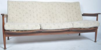 GREAVES AND THOMAS TEAK FRAMED THREE SEATER SOFA SETTEE BY GREAVES AND THOMAS