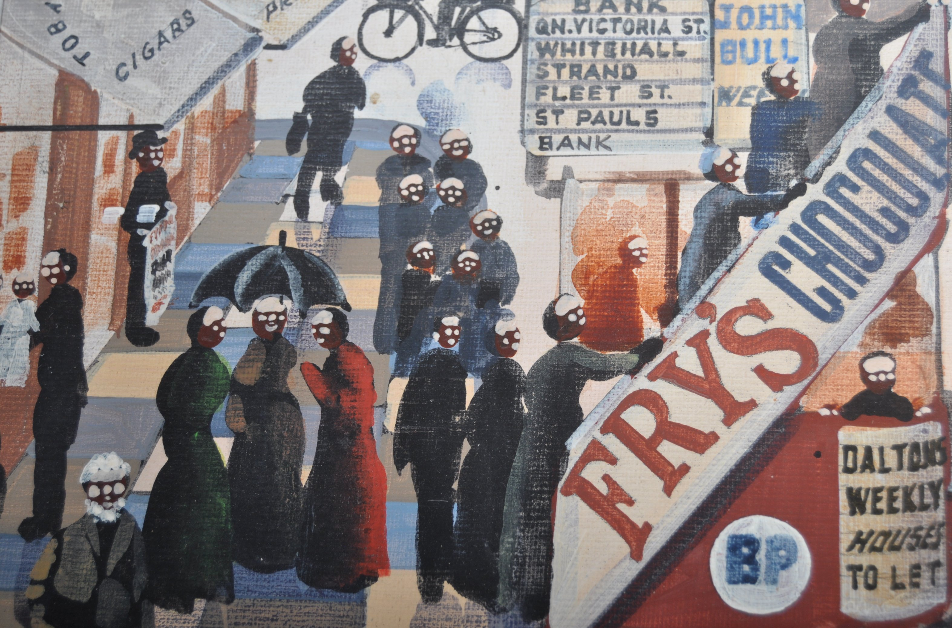 ALFRED JONES OIL ON BOARD PAINTING DEPICTING A LONDON STREET - Image 5 of 6