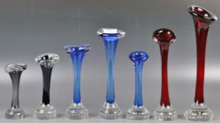 COLLECTION OF JACK IN THE PULPIT VASES BY ASEDA GLASSWORKS