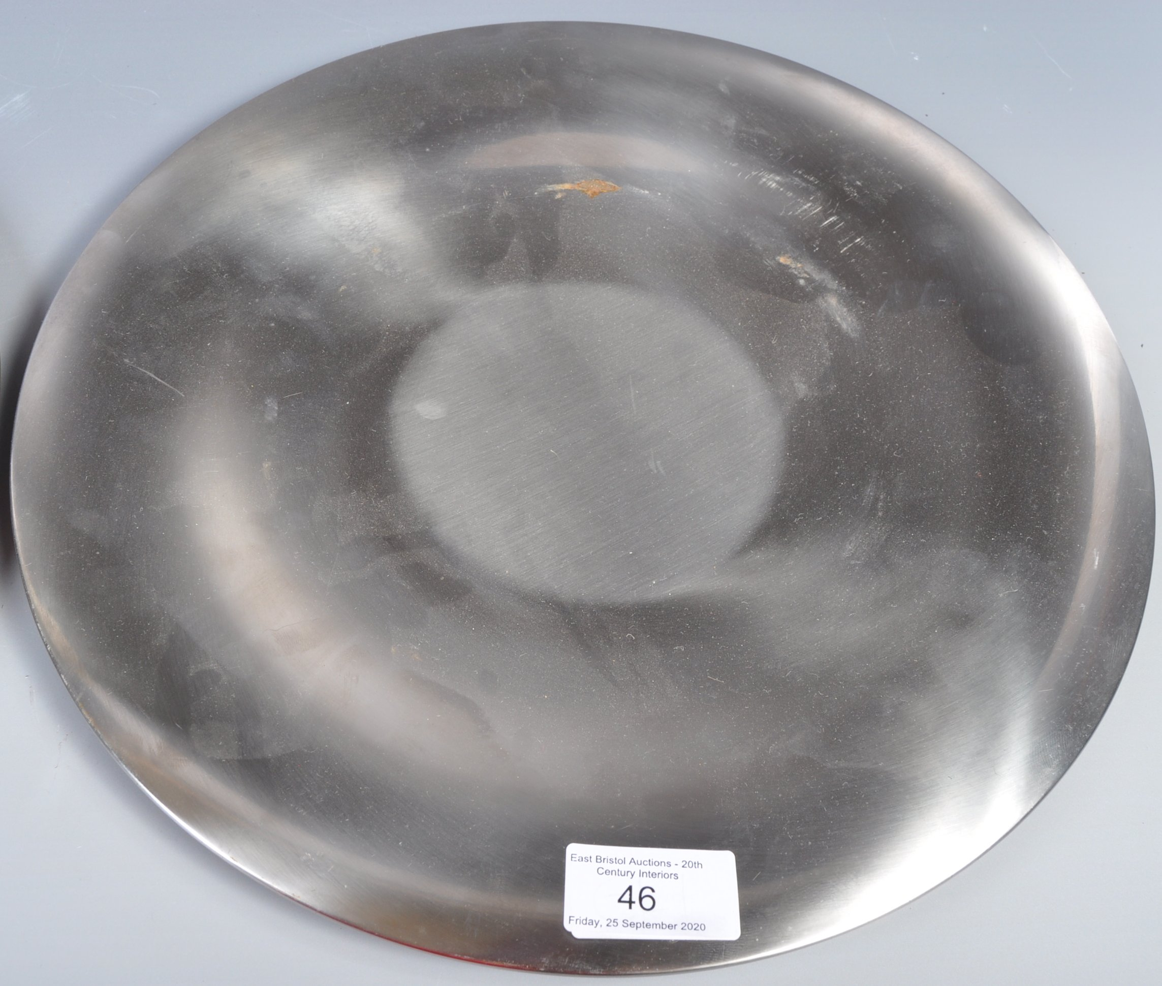PAIR OF DANISH STAINLESS STEEL PLATES BY LONE SACHS FOR LUNDTOFTE - Image 3 of 8