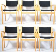 MAGNUS OLESEN DANISH SET OF SIX CARVER ARMCHAIRS / DINING CHAIRS