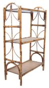 VINTAGE THREE TIER OPEN DISPLAY BOOKCASE OF BAMBOO CONSTRUCTION