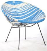 A 20TH CENTURY RETRO BLUE AND WHITE WICKER SATELLITE SPUTNIK CHAIR