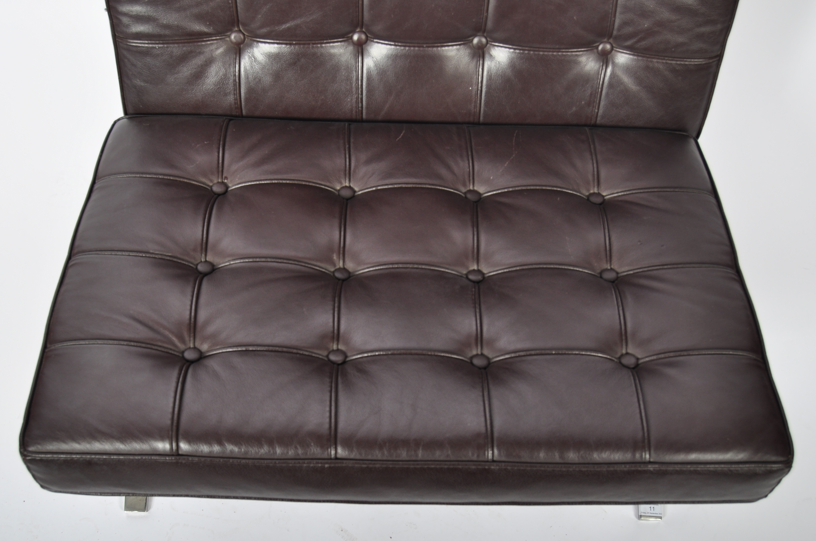 CHROME X-FRAME BARCELONA CHAIR IN BROWN LEATHER - Image 4 of 6