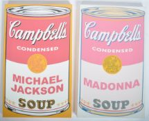 KEN SURMAN PAIR OF CAMPBELL'S SOUP CANVAS PRINTS IN THE MANOR OF WARHOL