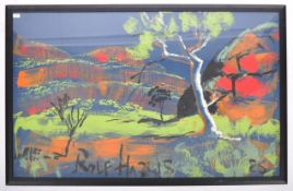 ROLF HARRIS LARGE ACRYLIC ON PAPER PAINTING STUDY OF A COUNTRYSIDE SCENE