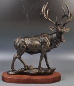 IMPRESSIVE LARGE BRONZE EFFECT STATUE OF A DEER STAG