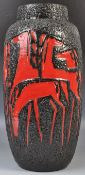 WEST GERMAN SCHEURICH 553-52 FAT LAVA VASE HAVING STYLIZED HORSES