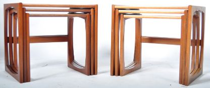 VICTOR B WILKINS PAIR (TWO) NESTS OF QUADRILLE TABLES