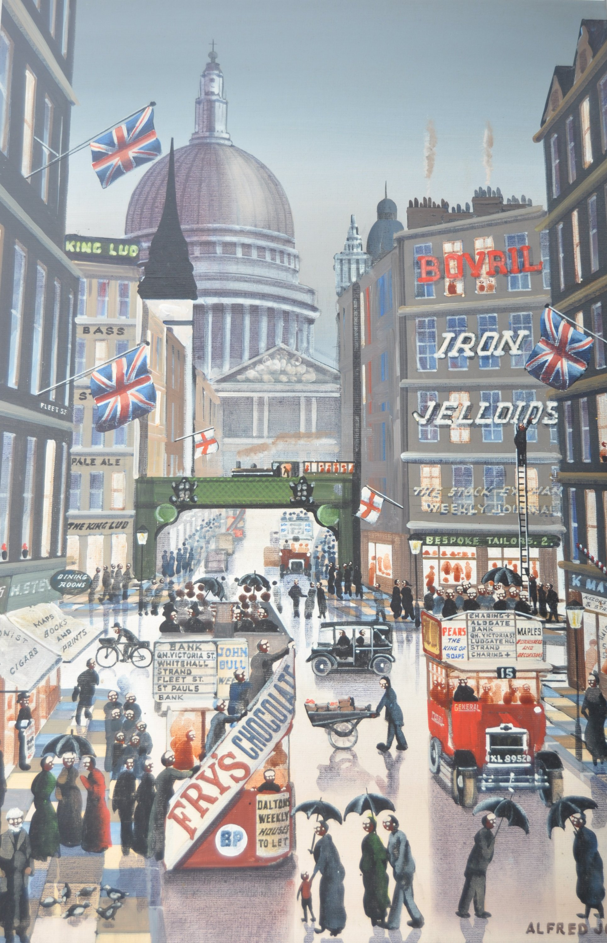 ALFRED JONES OIL ON BOARD PAINTING DEPICTING A LONDON STREET - Image 2 of 6