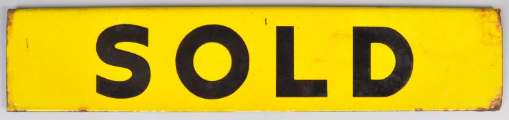 MID CENTURY DOUBLE SIDED YELLOW AND BLACK ENAMELED PORCELAIN SOLD SIGN