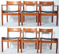 SUPERB SET OF SIX DANISH TEAK WOOD DINING CHAIRS WITH TWO CARVERS
