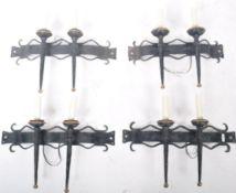 SET OF FOUR ANTIQUE GOTHIC REVIVAL WALL LIGHT SCONCES