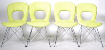MATCHING SET OF FOUR CONTEMPORARY GREEN LEATHER CHAIRS
