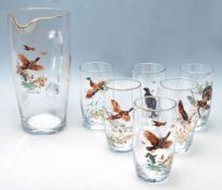 MID CENTURY HAND PAINTED HUNTING INTEREST LEMONADE SET