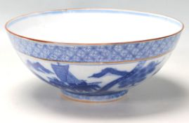 19TH CENTURY CHINESE BLUE AND WHITE CENTREPIECE BOWL