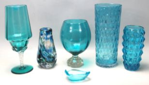 RETRO VINTAGE TEAL BLUE STUDIO ART GLASS VASES