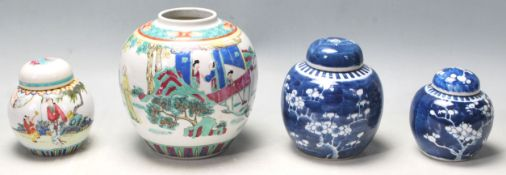 FOUR EARLY 20TH CENTURY CHINESE GINGER JAR OF VARIOUS DESIGN AND SIZES