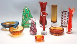 RETRO MID CENTURY STUDIO ART GLASS VASES, ASHTRAY, ETC