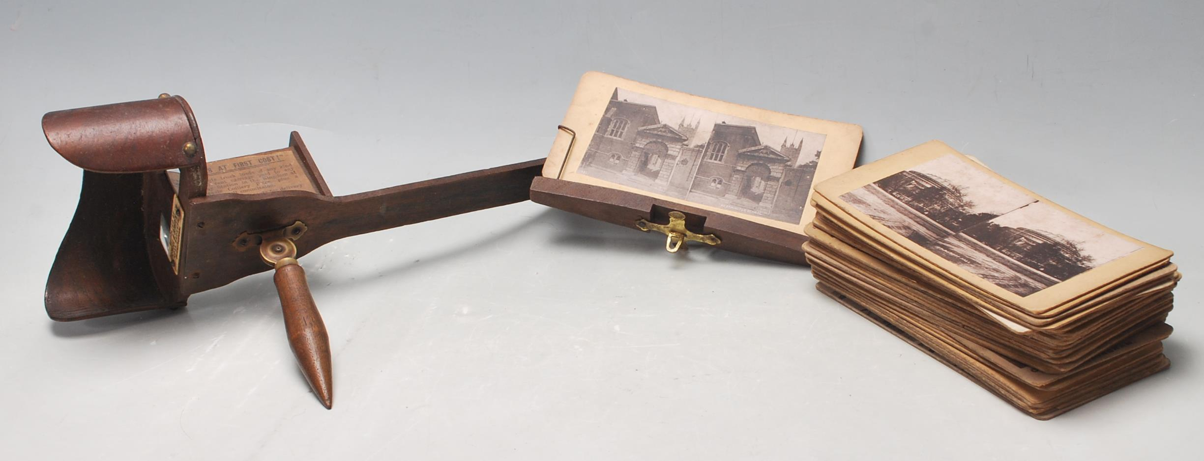 A LATE 19TH CENTURY VICTORIAN STEREOSCOPE VIEWER WITH SLIDES OF LONDON, BIRMINGHAM AND SOUTH AFRICA - Image 2 of 5