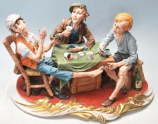 ITALIAN NAPLES CAPODIMONTE CERAMIC CENTREPIECE ' THE CHEATS '