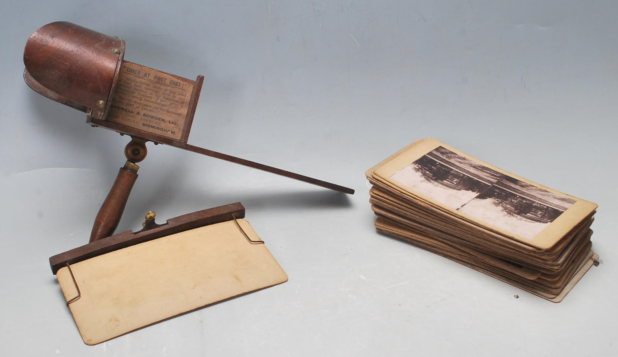 A LATE 19TH CENTURY VICTORIAN STEREOSCOPE VIEWER WITH SLIDES OF LONDON, BIRMINGHAM AND SOUTH AFRICA - Image 5 of 5