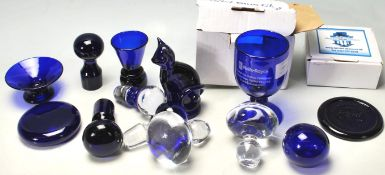 A QUANTITY OF RETRO 20TH CENTURY STUDIO BRISTOL BLUE GLASS