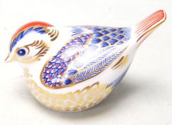 ROYAL CROWN DERBY CERAMIC PAPERWEIGHT WITH GOLD STOPPER