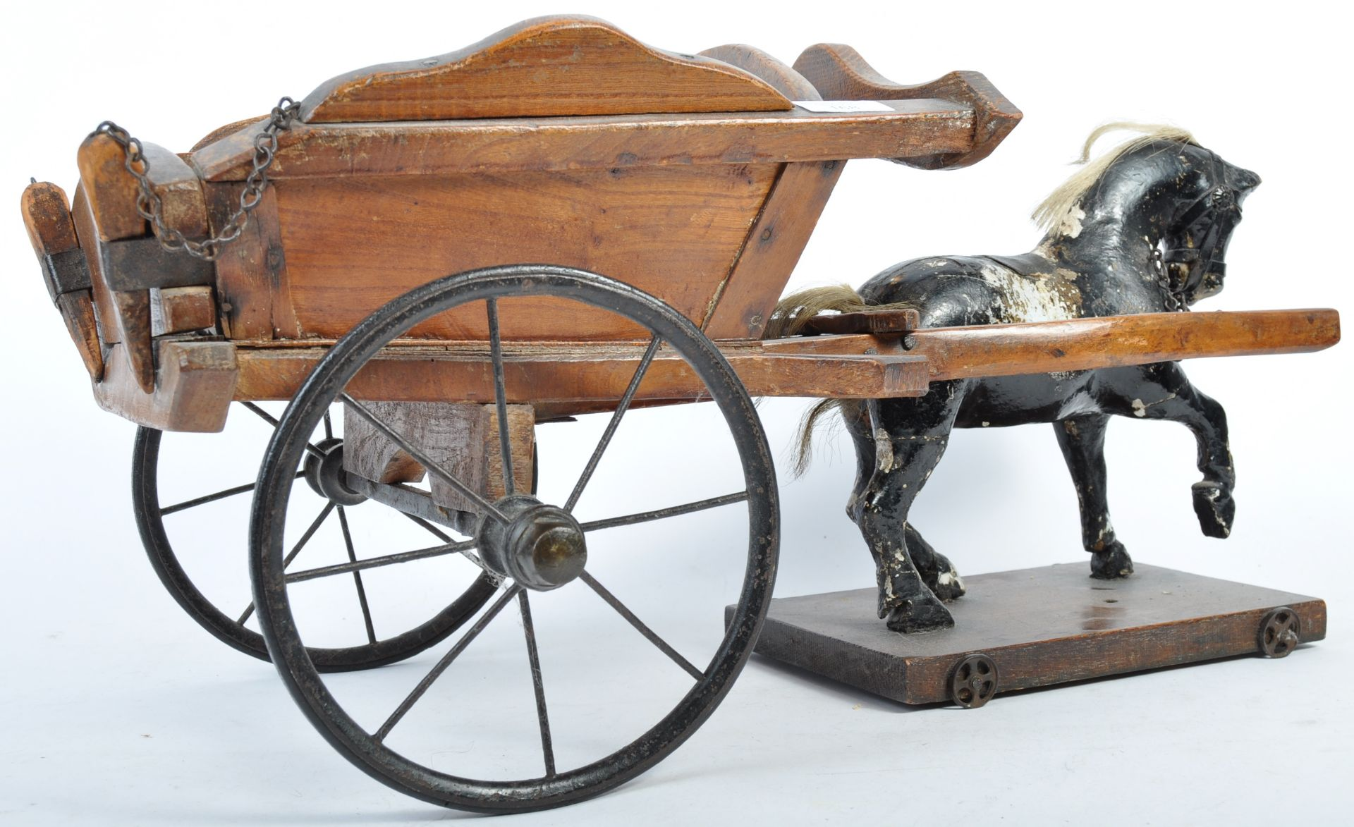 Los 168 - CHARMING ANTIQUE WOODEN HORSE AND TRAP CART TOY