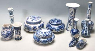 A QUANTITY OF BLUE AND WITH DELFT CERAMIC PORCELAI
