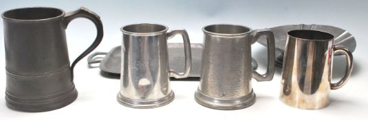 A good mixed group of pewter wares dating from the