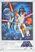 STAR WARS - INCREDIBLE CAST SIGNED A NEW HOPE MOVIE POSTER