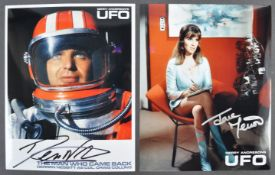 GERRY ANDERSON'S UFO - TWO AUTOGRAPHED PHOTOGRAPHS